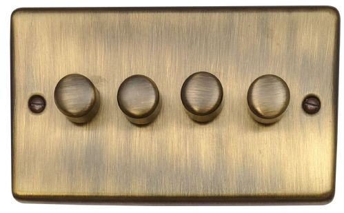 G&H CAB14 Standard Plate Antique Bronze 4 Gang 1 or 2 Way 40-400W Dimmer Switch